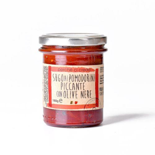 Sugo ai pomodorini ciliegini con olive nere Perchecicredo